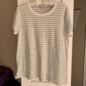 LOFT Soft White & Grey Stripe Short Sleeve Sweater
